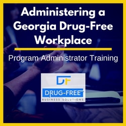Administering a Georgia Drug-Free Workplace CD Cover, with a person talking with their hands at a conference table in the background