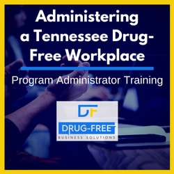 Administering a Tennessee Drug-Free Workplace CD Cover, with a person talking with their hands at a conference table in the background