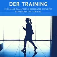 Blue DER Training Banner atop image of woman walking down hallway