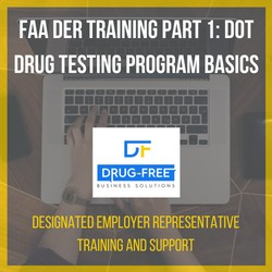 FAA DER Training Part 1: DOT Drug Testing Program Basics CD Cover, with a laptop and hands as the background image