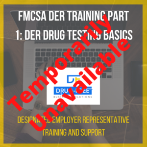 FMCSA DER Training Part 1: DER Drug Testing Basics CD Cover, with a laptop and hands as the background image.
