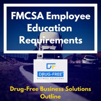 FMCSA Employee Education Requirements banner with a truck on a desert highway in the background