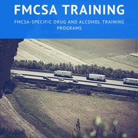 FMCSA Training Banner with trucks on country highway
