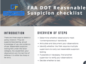 The header of our FAA Reasonable Suspicion Checklist