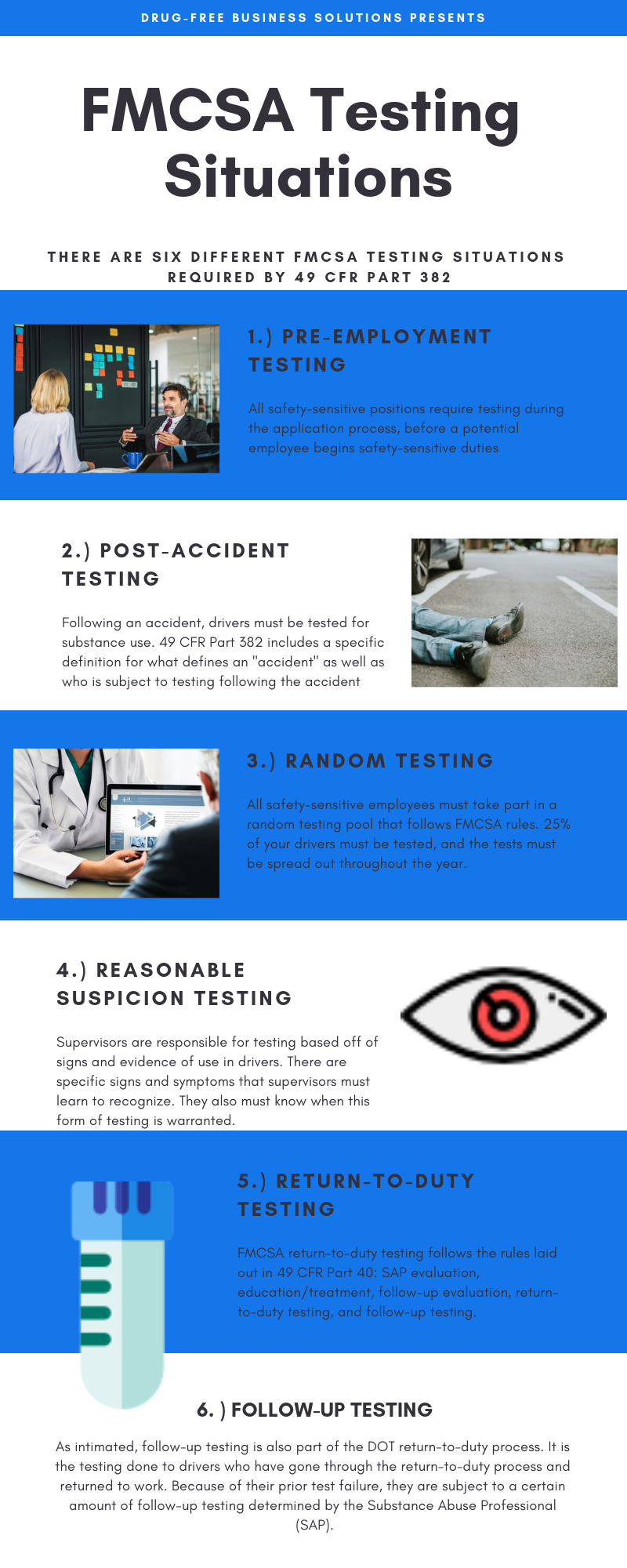 A visual summary of the six FMCSA testing situations as described in 49 CFR Part 382