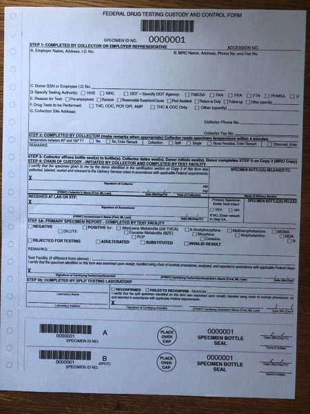 Copy 1 of the federal chain of custody form