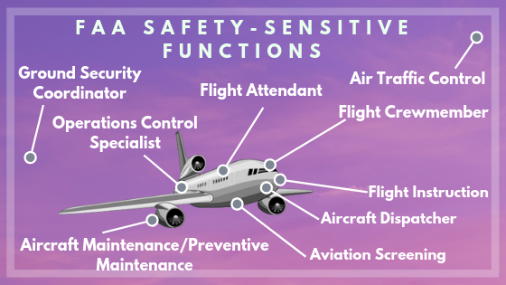 The FAA safety-sensitive functions listed out