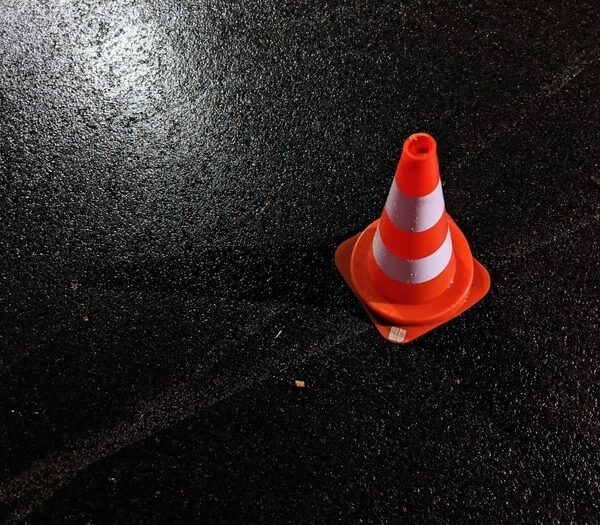 Cone placed at the scene of a traffic accident requiring FMCSA post-accident testing